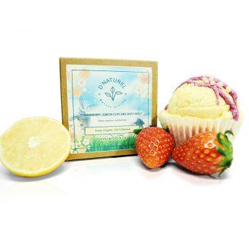 organic bath bomb, strawberry lemon organic bath bomb