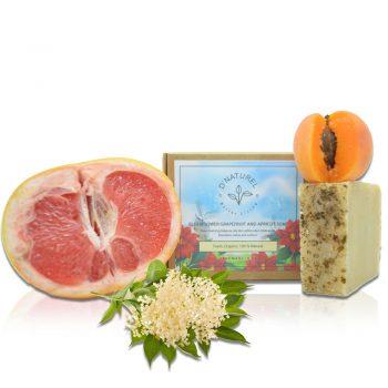 organic grapefruit apricot and elderflower soap