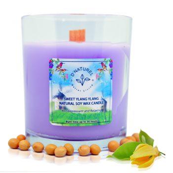soy wax candle, natural candle, ylang ylang scented candle