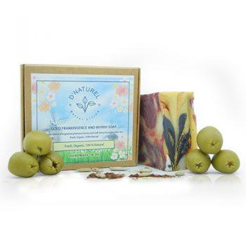 organic gold frankinsense and myrhh soap, organic anti-ageing soap